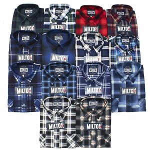 3 x Milton Flannelette Shirts Assorted Colours Size Small to 6XL - Closed Front