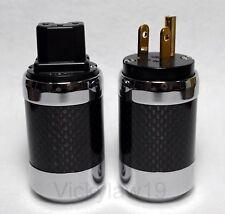 Vanguard Carbon Fiber CRYO 24K Gold Plated IEC C13 + US Mains Plug Connector