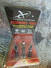 """3 Pack Carbon Express Torrid 100 BroadHead Expandable 1 1/2"""" Cut 100 Grain"""