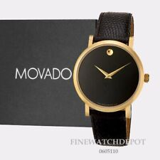 Authentic Mens Movado Gold Tone Automatic Leather Band Watch 0605110