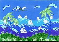 Tropical Seascape Regatta Sailboats Seagull Original Florida Folk Art PAINTING
