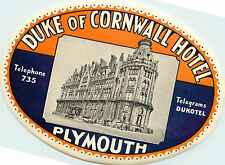 Duke of Cornwall Hotel ~PLYMOUTH ENGLAND~ Huge Early Luggage Label, c. 1935