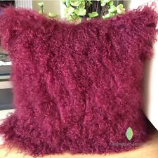45 x 45CM GENUINE MONGOLIAN SHEEPSKIN LAMB FUR WOOL CUSHION WITH PAD - BURGUNDY