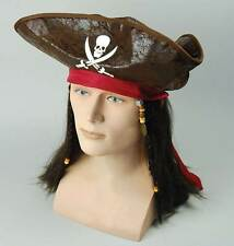 Pirate Caribbean Hat + Hair. Fancy Dress Accessory