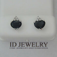 2.68CT F SI Sapphire & Diamond Earrings in 14KT White Gold