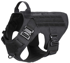 ICEFANG Tactical Dog Harness with 4X Metal Buckle, MOLLE Vest with Handle, Large