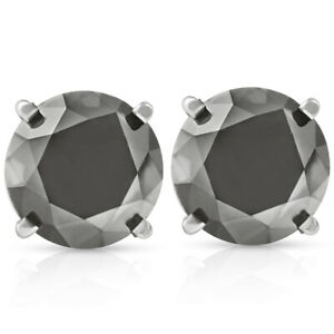 3 TCW 14k White Gold Round Black Diamond Stud Earrings