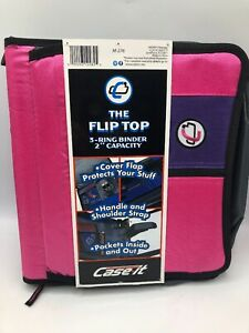 """The Flip Top 3 Ring Binder 2"""" Capacity Pink M-276 Shoulder Strap New with Tags"""