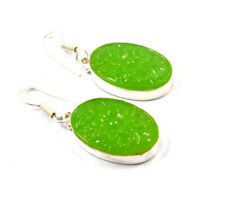 Plated Earring Jewelry Jc10703 Chalcedony Flower Carving .925 Silver