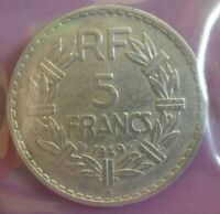 5 francs Lavrillier Alu 1949 B : TTB : pièce de monnaie française N58