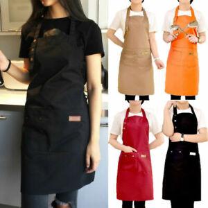 Denim Canvas Pockets Apron Butcher Crafts Baking Chefs Kitchen Cooking Apron UK