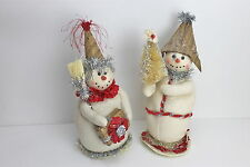 GISELA GRAHAM CHRISTMAS VINTAGE GLITTERED FABRIC SNOWMAN WITH PAPER HAT ORNAMENT
