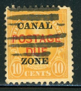 CANAL ZONE Used Postage Due Selections: Scott #J17 10c Orange (1925) CV$11+