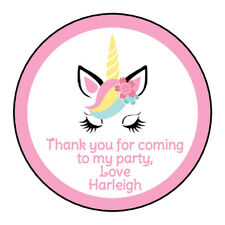 Personalised Unicorn Happy Birthday Party Stickers Gift Bag Cake Box Labels