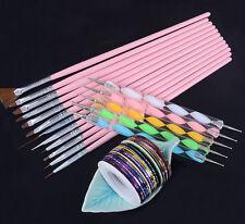 Nail Art 2way Dotting Pen Drawing Brush 30 Colors Striping Tape DIY Kit 0.5mm