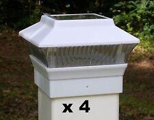 4 White Solar Fence Post Cap Lights - For 4x4 PVC / VINYL Fence Posts PL244W