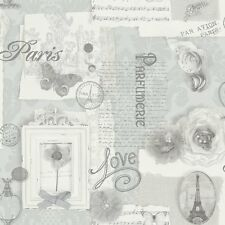 Shabby Chic Vintage Carta Da Parati Parigi grigio spedizione gratuita