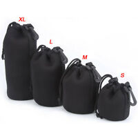 4 Size DSLR Camera Drawstring Lens Pouch Bag Cover S M L XL For Sony Canon Nikon