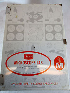 Vintage 1960's Sears Microscope Lab w/metal fold out case