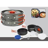 Portable Outdoor Cooking Camping Hiking Cookware Picnic Pot Pan Bowl 8Pcs Set