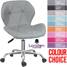 Cushioned Fabric Desk Office Chair Chrome Legs Lift Swivel Small Adjustable UK
