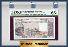 TT PK 108Ai 1982 WEST AFRICAN STATES 5000 FRANCS PMG 66 EPQ GEM POP ONE NONE FIN