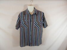 Men's DICKES Blue Checkered Short Sleeved  Pearl Snap Dress Shirt Sz L