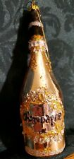 """Kurt S Adler Champagne Bottle European Style Blown Glass 6"""" Christmas Ornament"""