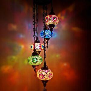 Turkish Moroccan Large Glass Mosaic Chandelier 5 Ball Lamp Light Hanging - UK