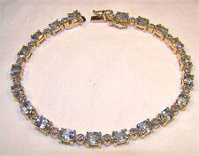 "Beautiful Genuine Diamond & Topaz Gold Over Sterling Silver 7.5"" Tennis Bracelet"