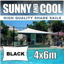 HEAVY DUTY SHADE SAIL-4Mx6M RECTANGLE IN BLACK 4x6m