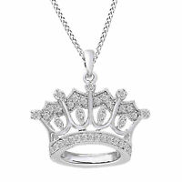 "0.25 CT Round Diamond 14K White Gold Over Crown Pendant w/ 18"" Chain Necklace"