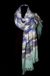 Soft Long Knit Tie Dye Ombre Blue Mint Green Gray Off White Scarf B4