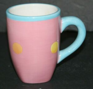 Dansk Coffee Cup Mug Sorbet Berry 80's Pastel Polka Dots Tea Cup Hand Painted