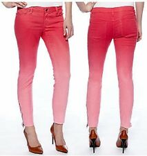 JESSICA SIMPSON Raspberry Sorbet Ombre Forever Skinny Kiss Me Ankle Zip Jeans 25