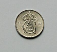 1968 SWEDEN Gustav VI Adolf Coin - 10 Ore - AU+ toned-lustre - tiny 15mm size