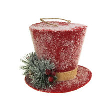 Red Hanging Burlap Top Hat with Snow Christmas Decoration, 5-Inch