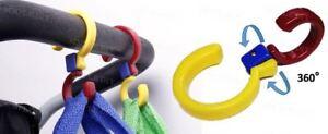 2 Buggy Hanging Hook Pram Carry Shopping Bag Holder 360° Swivel Pushchair Clip
