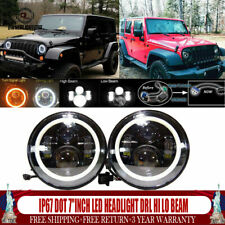 7inch Round LED Headlight Halo Angle Eyes Fit Jeep Wrangler JK TJ LJ CJ Hummer