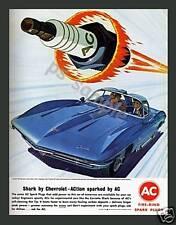 AC SPARK PLUG - CHEVROLET SHARK - Vintage Ad - Magnet