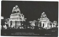 RPPC    Elephant Gates Illuminated ~ Golden Gate Expo 1940 ~ Expo Cancellation