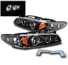 1997-2003 PONTIAC GRAND PRIX BLACK HALO PROJECTOR HEADLIGHTS W/BLUE LED DRL LAMP