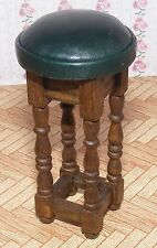 1:12 Scale Single Green Leather Large Stool Tumdee Dolls House Pub - Bar