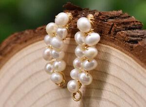 B15 Dorée Boucles D'Oreilles Rayures En Blanc Perles D'Eau Douce