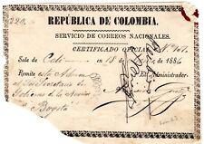 Colombia - Official Insured Letter (Cubierta) - Cali - Bogota - 1886 - Sc Nl Rrr