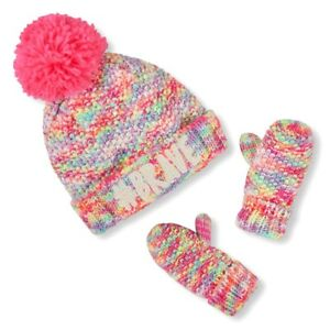 The Childrens Place Leopard//Pink Hat /& Mitten Set-6-12M OR 2T//3T