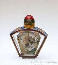 "2.43"" Old Handmade Painted ""Cat"" Inside Painted Enamel Glass Snuff Bottle"