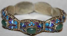 Vintage Chinese Sterling Silver Enamel Jade Gold Washed Filigree Bracelet/Jewelr