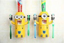 1xCute Minions Design Set Cartoon Yellow Toothbrush Holder Automatic Dispenser.