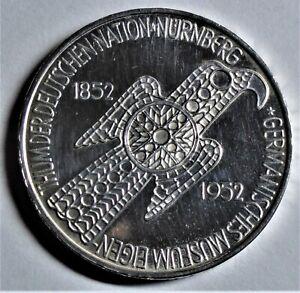 5,- DM 1952 D Silber - 100 Jahre Germanisches Museum - vz-st / xf-unc mit Kapsel